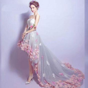 Sleeveless Strapless Floral Trailing Evening Dresses Appliques Court Train Bow Party Gown