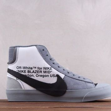 hcxx Nike OFF WHITE Blazer Mid The 10 Causal Skate Shoes Grey Black