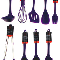 Set of 9 Purple Kitchen Utensils Silicone Chef Craft Ladle Spatula Tongs Turner
