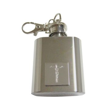 Silver Toned Etched Religious Crucifix Cross 1 Oz. Stainless Steel Key Chain flask