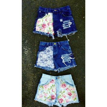 High waisted floral shorts waist sizes 22,23,24,25,26,27,28,29,30,31,32 available and young girls sizes too