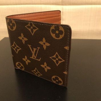 One-nice™ New Brown Louis Vuitton mens/unisex monogram leather wallet