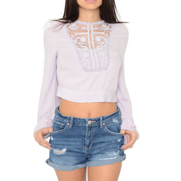 Lace Appliqué Crop Top