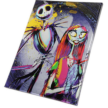 The Nightmare Before Christmas Jack & Sally Metallic Splatter Mini Canvas