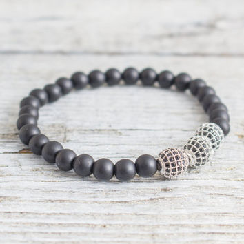 Matte black onyx beaded stretchy bracelet with silver micro pave Balls, made to order bracelet,  mens bracelet, womens bracelet