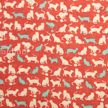 Japanese Fabric - linen blend voile - cats - red