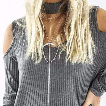 Silver Triple Layer Choker Necklace