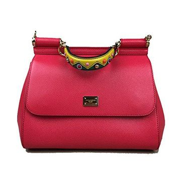 DOLCE & GABBANA Miss Sicily EMBELLISHED Handle Red Pink Dauphine Leather Medium Bag Handbag Purse Tote