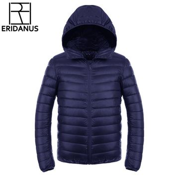 Men's Down Jacket 2016 New Men Short Ultra-thin Lightweight Coats Solid Hooded Waterproof White Duck Down Parkas Outerwear M416