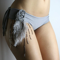 Feather and beads embellished cotton panties by roufe on Etsy
