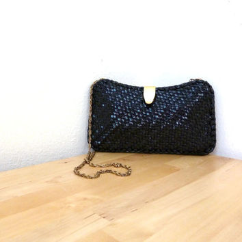 Vintage Woven Handbag / Small Barrel Purse / Black Rattan Handbag / Wicker Purse / Basket Weave Purse / Walborg Purse