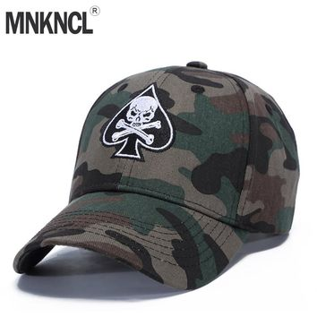 High Quality Unisex Camouflage Outdoor Baseball Cap Skull Embroidery Snapback
