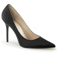 "Classique 20 Black Satin Pointy Toe 4"" Stiletto Heel Pump 6 - 16 Queen"