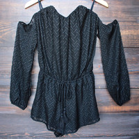 strapless cold shoulder boho romper - black