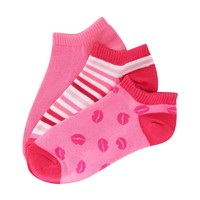 3-Pack Of Kiss, Solid & Stripe Ped Socks