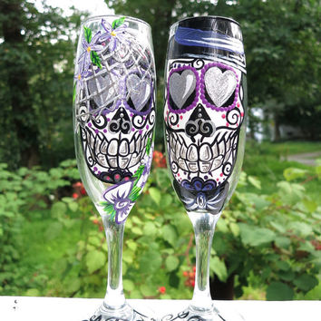 Hand painted bride and groom sugar skull champagne flutes