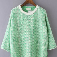 Green Half Sleeve Knit Sweater