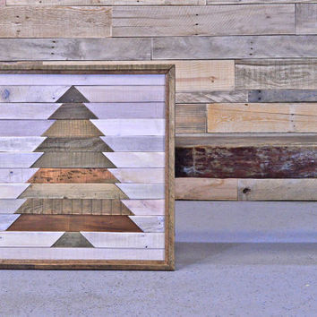 Reclaimed Wood Wall Hanging,  Large Mosaic Wood Art, Rustic Christmas Decor, Wood Wall Art