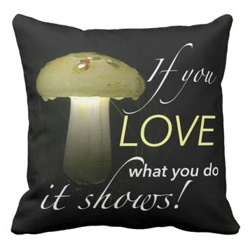 Glowing Ceramic Solar Mushroom Inspiration Throw Pillow