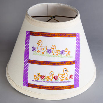 Nursery Lamp Shade with Vintage Duck Fabric on New Lampshade