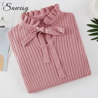 Autumn Winter Sweaters With Long Sleeve Ruffle Slim Jumper Women Pullovers Casual Korean Knitting Sweaters And Pullovers Pink