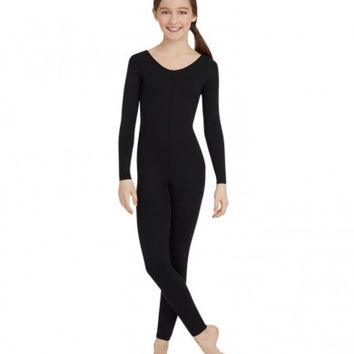Child Long Sleeve Unitard (Black) TB114C