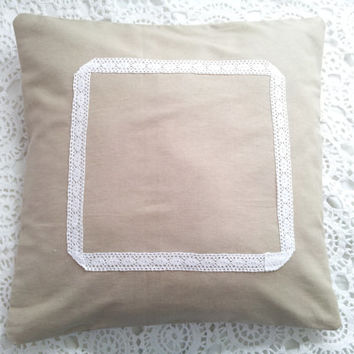 Beige pillow case, beige cushion, beige pillow, neutral, pillow cover, cotton and lace, lace pillow, natural beige, cotton pillow