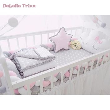 Knotted Baby Bed Bumper Baby Room Decor Newborn Bedroom Infant Crib Cot Carrier Safety Protector Pillow Baby Bedding Set 200cm