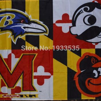 Baltimore Ravens Orioles Maryland State Terrapins Natty Boh One-Sided 3'x5' banner Flag