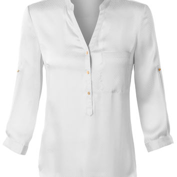 LE3NO Womens Loose Fit Satin Long Sleeve Half Button Down Shirt with Pocket