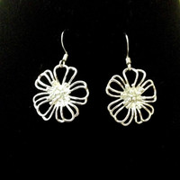 Silver flower earrings bright wire floral hypoallergenic three dimensional