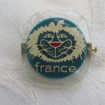 Lucite France Brooch, Vintage French Souvenir Pin, Smiling Lion Face, French Jewelry