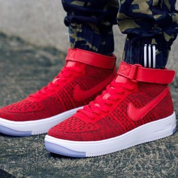 PEAPON Nike Air Force 1 Flyknit Mid-High 817420-601 Red Women Men Shoes Sneakers