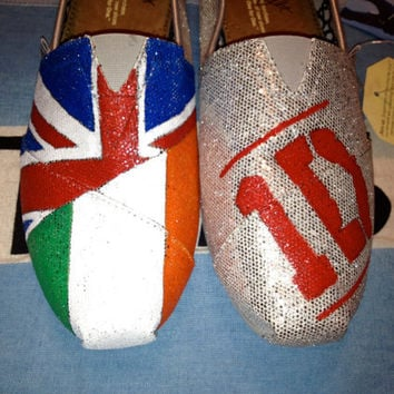One Direction Inspired TOMS Shoes on Silver Glitter