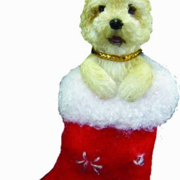 "Cairn Terrier Christmas Stocking Ornament with ""Santa's Little Pals"" Hand Painted and Stitched Detail"