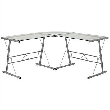 Modern Silver Metal L-Shaped Desk with Glass Top & Floor Glides