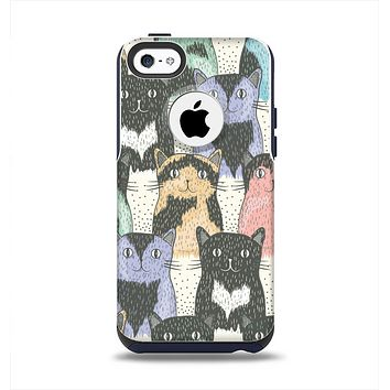 The Vintage Cat portrait Apple iPhone 5c Otterbox Commuter Case Skin Set