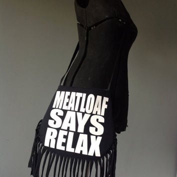 MEATLOAF - Upcycled Rock T-Shirt Fringe Purse - ooak