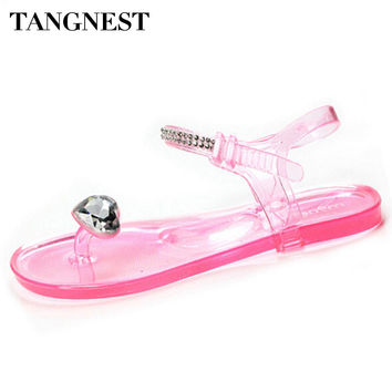Tangnest Summer Women Jelly Shoes 2017 Candy Color Crystal Sandals Transparent Gladiator Sandals Woman Casual Jelly Shoes XWZ424