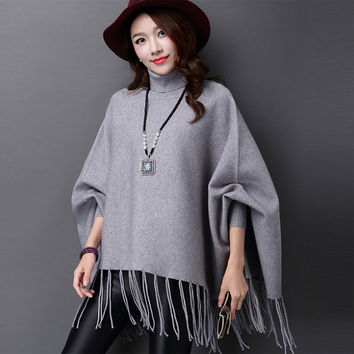 HIGH QUALITY Sweater Women Autumn Winter Fashion Batwing Long Sleeve Turtleneck Tassel Loose Solid Thick Warm Wool Sweaters B772