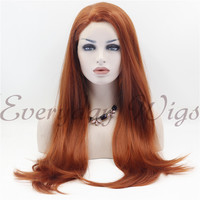24 Auburn Straight Synthetic Lace Front Wig-edw1050