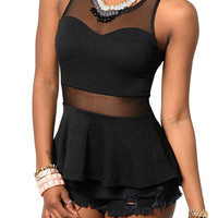 Black Sexy Sweet Heart Mesh Cut Out Peplum Top