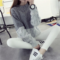 Petite Mohair Two Tone Classic Knit Winter Women Sweater