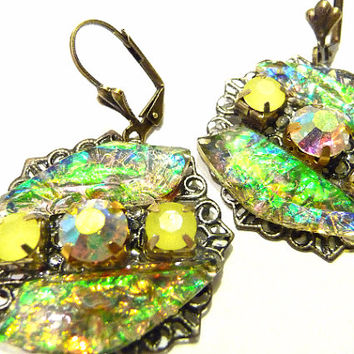Gold Flakes Earrings, Green earrings, bronze earrings, antique gold earrings, dichroic earrings, resin earrings, green, yellow, dichroic,