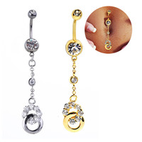 New Charming Dangle Crystal Navel Belly Ring Bling Barbell Button Ring Piercing Body Jewelry = 4672670788