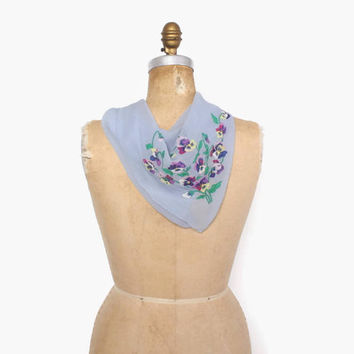 Vintage 40s VIOLETS Scarf / 1940s Pretty Pale Blue Silk Georgette Violet Flower Applique Large Scarf