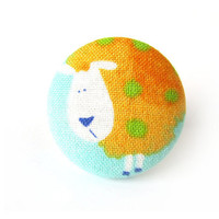 SALE Funky ring - sheep ring - large fabric button ring - orange blue green funky funny crazy unique cute