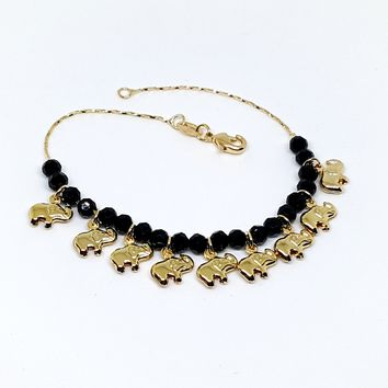 1-0767-g5 Gold Overlay Elephants Bracelet with Faceted Onyx Beads.