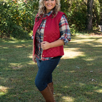 Curvy| The Madeline Vest - Red