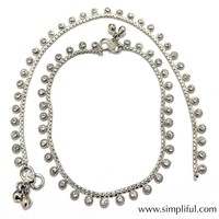 Circle with white glass crystal stone Rhodium plated Anklet